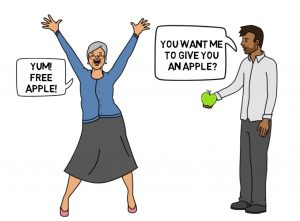 man giving an apple